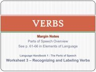 Worksheet 3 – Recognizing and Labeling Verbs