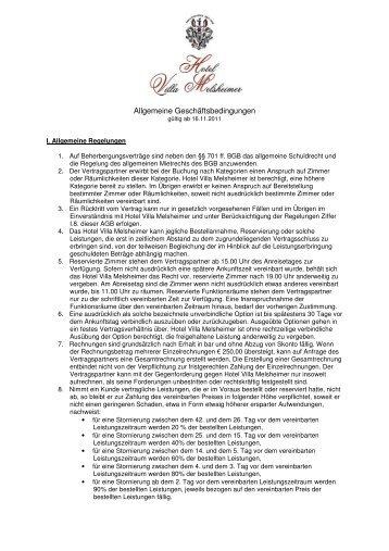 Allgemeine Geschäftsbedingungen - Hotel Villa Melsheimer