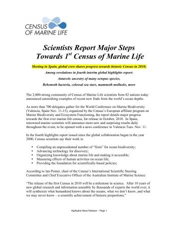 Full press release - Census of Marine Life