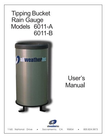 6011 Tipping Bucket Rain Gauge - AllWeatherInc