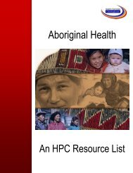 Aboriginal Health: An HPC - Health Promotion Clearinghouse