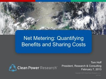 Net Metering - Clean Power Research