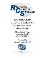 integrated visual learning - Optometric Extension Program Foundation