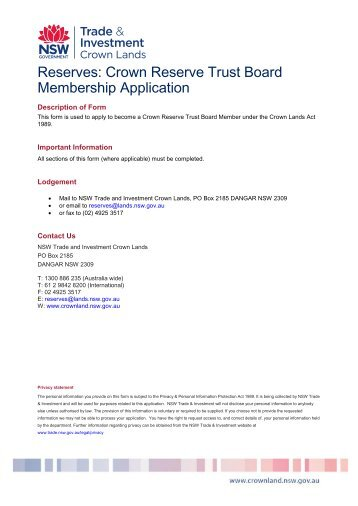 Reserves: Crown Reserve Trust Board Membership Application - Land