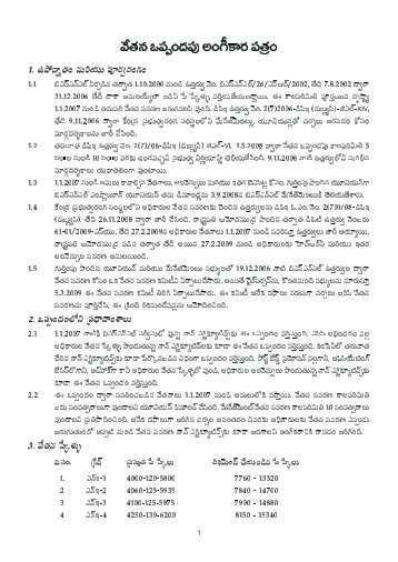 Detailed Wage revision Agreement in Telugu