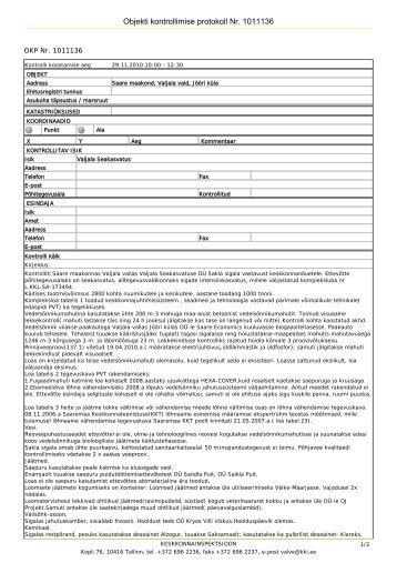 Objekti kontrollimise protokoll Nr. 1011136 - IPPC Eesti
