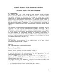 Terms of Reference for the Programme Consultant ... - Cgsird.gov.in