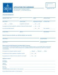 ApplicAtion for Admission - Charlotte Christian School