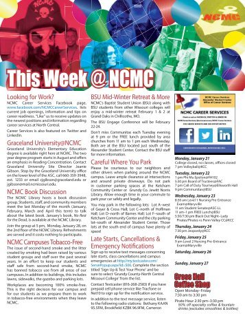 This Week@NCMC January 21, 2013 - North Central Missouri College