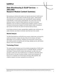 Data Warehousing & OLAP Services — 2001/2002 Research ...