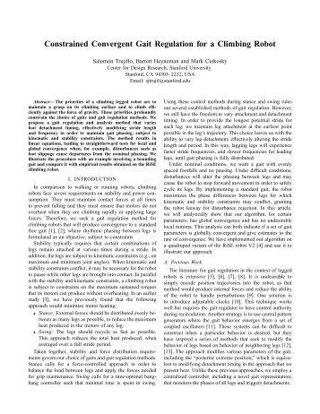 Constrained Convergent Gait Regulation for a Climbing Robot