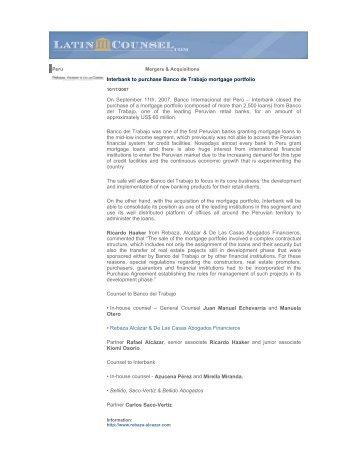 Interbank to purchase Banco de Trabajo mortgage portfolio On ...