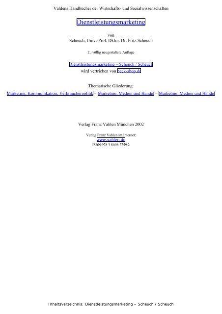 Dienstleistungsmarketing - Scheuch / Scheuch, Inhaltsverzeichnis