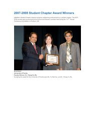 2007-2008 Student Chapter Award Winners