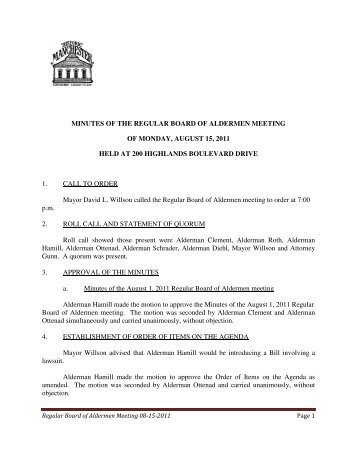 minutes of the regular board of aldermen meeting of monday, august ...