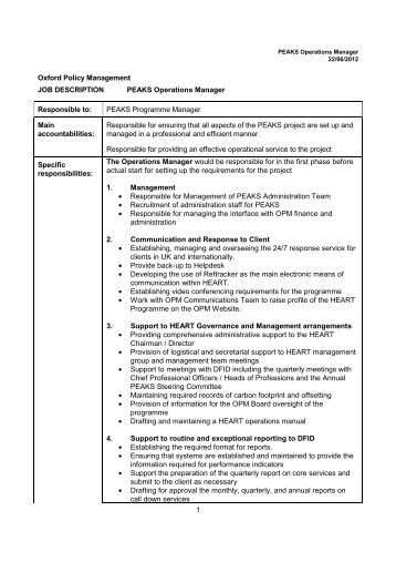 bses operations manager   job description   sail training    peaks operations manager job description   oxford policy