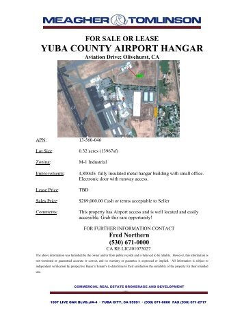 for sale or lease yuba county airport hangar