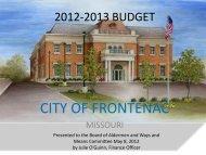 2012-2013 Budget Presentation - City of Frontenac