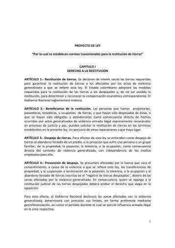 Proyecto del Ley de Tierras - Presidencia de la República de ...