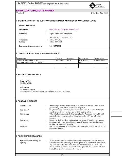 msds 0601 sigma zinc chromate sa 40 - SIGMA PAINTS