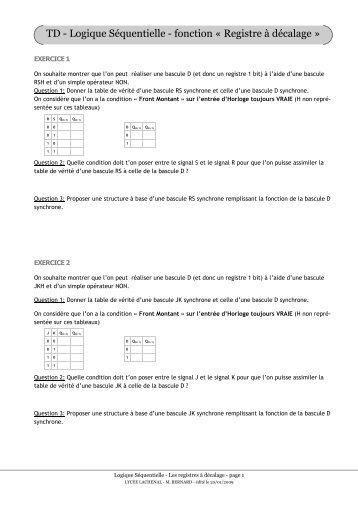 29 09 2010 registres d for Les portes logiques cours