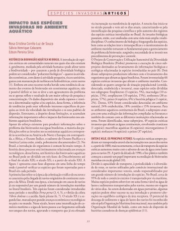 impActo dAs EspéciEs invAsorAs no AmbiEntE ... - Ciência e Cultura