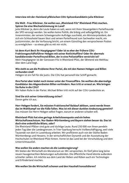 Interview mit Die WELT - Julia Klöckner