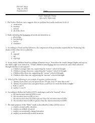 PSY 100 / Bizer May 24, 2008 Examination 2 Name: Part 1: Multiple ...