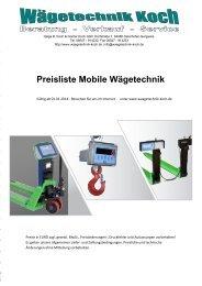 Auszug aus unserer Preisliste mobile Waagen zum Download