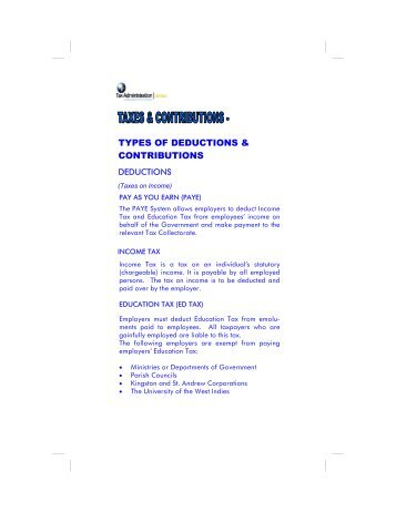Taxes and Contributions - Tax Administration Jamaica