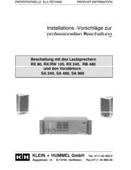 Proposals for Installation of Professional PA Systems - Klein + Hummel