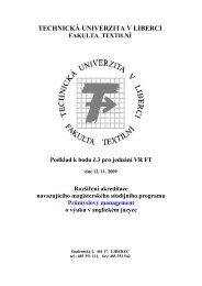 Quality Management - Fakulta textilní - Technická univerzita v Liberci