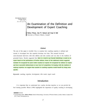 An Examination of the Definition and Development of Expert Coaching