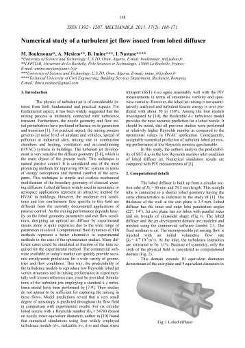 Numerical study of a turbulent jet flow issued from lobed diffuser