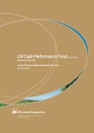 LM Cash Performance Fund ARSN 087 304 032 LM Cash ...