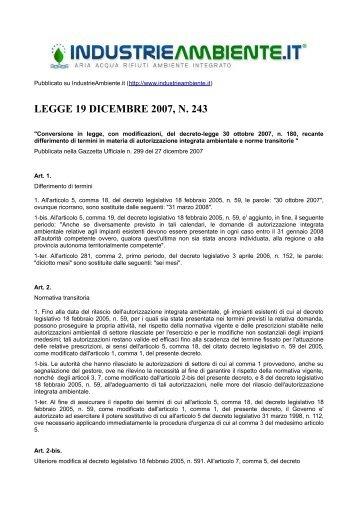 LEGGE 19 DICEMBRE 2007, N. 243 - IndustrieAmbiente.it
