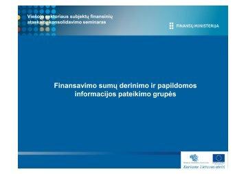 finansavimo sumos – nederinamos operacijos