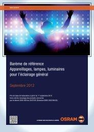 Barème de référence Appareillages, lampes, luminaires ... - Osram