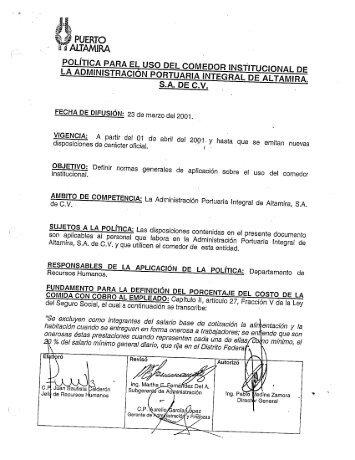 S.A. DE C.V. POLÍTICA PARA EL USO DEL COMEDOR INfi ...