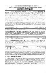 ATA DE REGISTRO DE PREÇOS Nº 006/2005 - Maringá