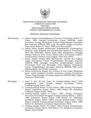 peraturan pemerintah republik indonesia nomor 95 tahun 2000 ...