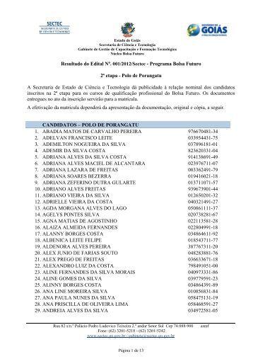 Resultado do Edital Nº. 001/2012/Sectec - Programa Bolsa Futuro 2ª ...