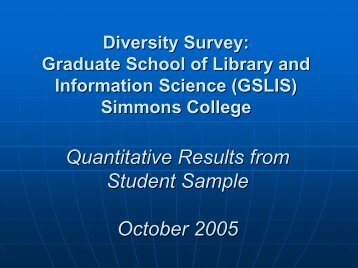 Diversity Survey Report - Short - Graduate School of Library and ...