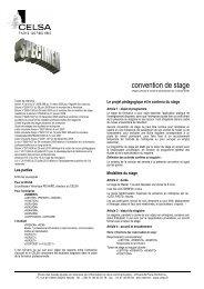 une convention de stage - Celsa