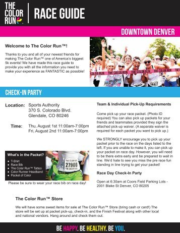 Download Your Denver Pre-Race Docs Here! - The Color Run