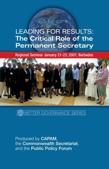 The Critical Role of the Permanent Secretary - Public Policy Forum