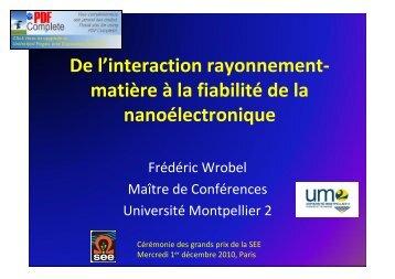 De l'interaction rayonnement- matière à la fiabilité de la ... - SEE