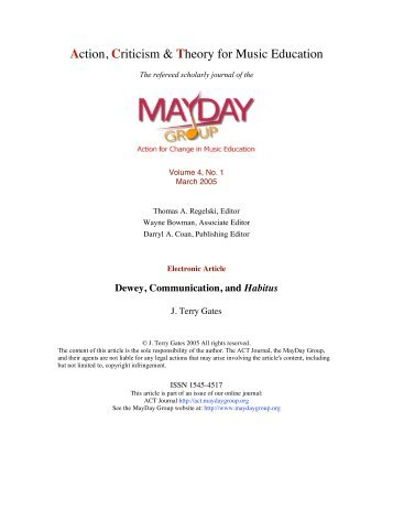J Terry Gates - ACT Journal - MayDay Group