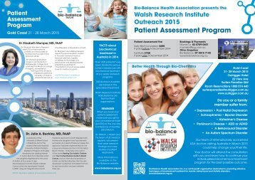 walsh research institute outreach - Bio-Balance Health