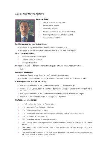 António Vitor Martins Monteiro - Millennium bcp